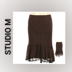 Studio M Maxi Skirt Brown polkadot Lined Small